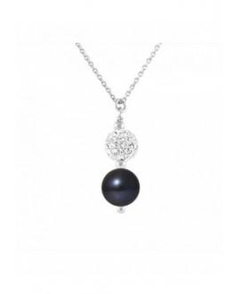 Collier Véritable Perle Pendentif Crystal Blanc