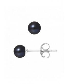 Boucles d'Oreilles Or Blanc orné de Véritables Perles
