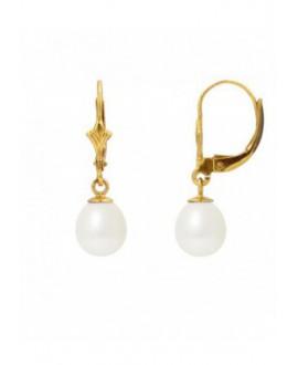 Boucles d'Oreilles Or Jaune orné de Véritables Perles