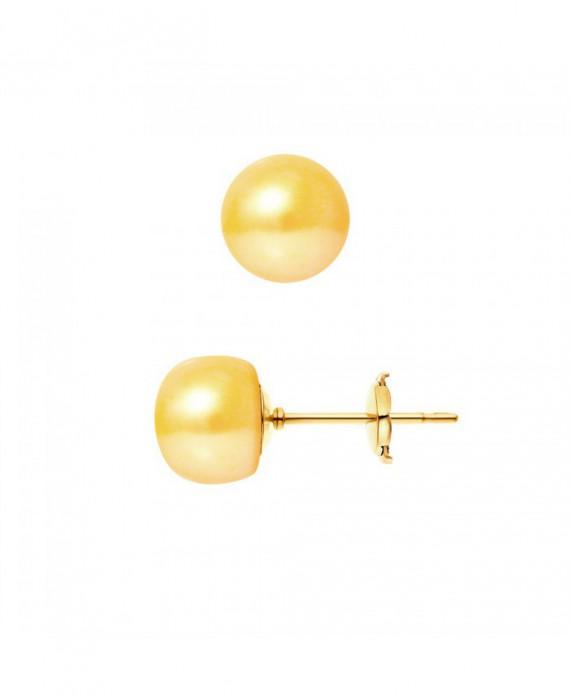 Boucles d'Oreilles Or Jaune & Véritables Perles
