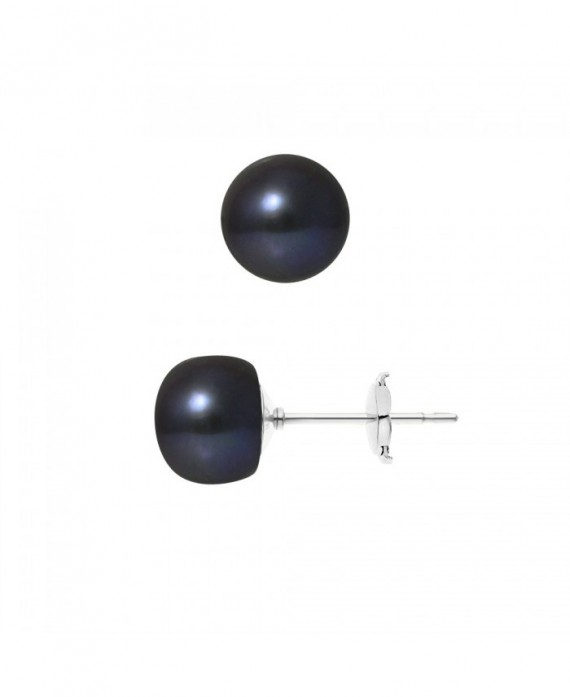 Boucles d'Oreilles Or Blanc & Véritables Perles